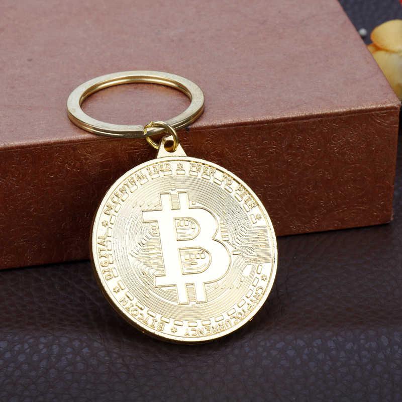 חם למכור חדש הגעה זהב כסף צבע סגסוגת Bitcoin keychain לנשים איש רכב תיק keyring תכשיטי מתנה