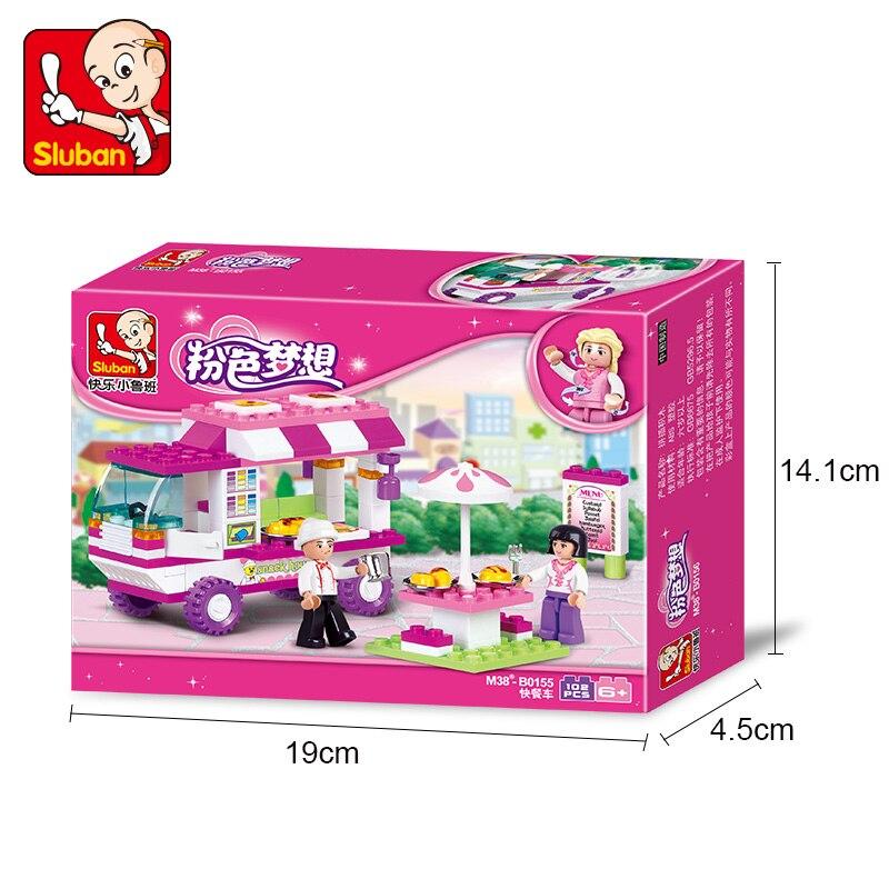 102PCS/SET Gils fast food car Model Educational toys Assembling Building Blocks Cartoon Bricks Children Gifts 50J018 Sluban