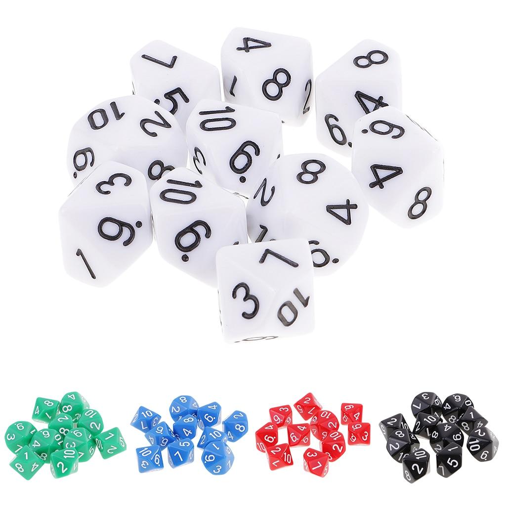 10 шт. 10 кубиков D10 многогранные кубики для Подземелья и Драконы игры 16 мм DND RPG MTG кости Семья вечерние игровой домик для детей игра в кости
