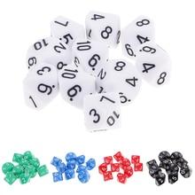 10 шт., 10-сторонние кубики D10, многогранные кубики для d-игр, 16 мм, DND RPG MTG, семейные вечерние игровой домик для детей, кубики