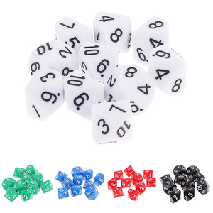 10pcs 10 Sided Dice D10 Polyhedral Dice for D&D Games 16mm DND RPG MTG Dice Family Party Kids Game House Dice(China)