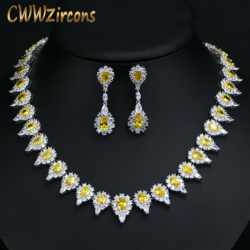 CWWZircons Shiny Pear Drop Yellow Crystal And Cubic Zirconia Party Jewelry Set For Women Luxury Wedding
