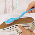 2016 Hot Sale Professional Soft Hard Bristle Plastic Cleaner Long Handle Double-headed Shoes Cleaning Brushes Washing Tools