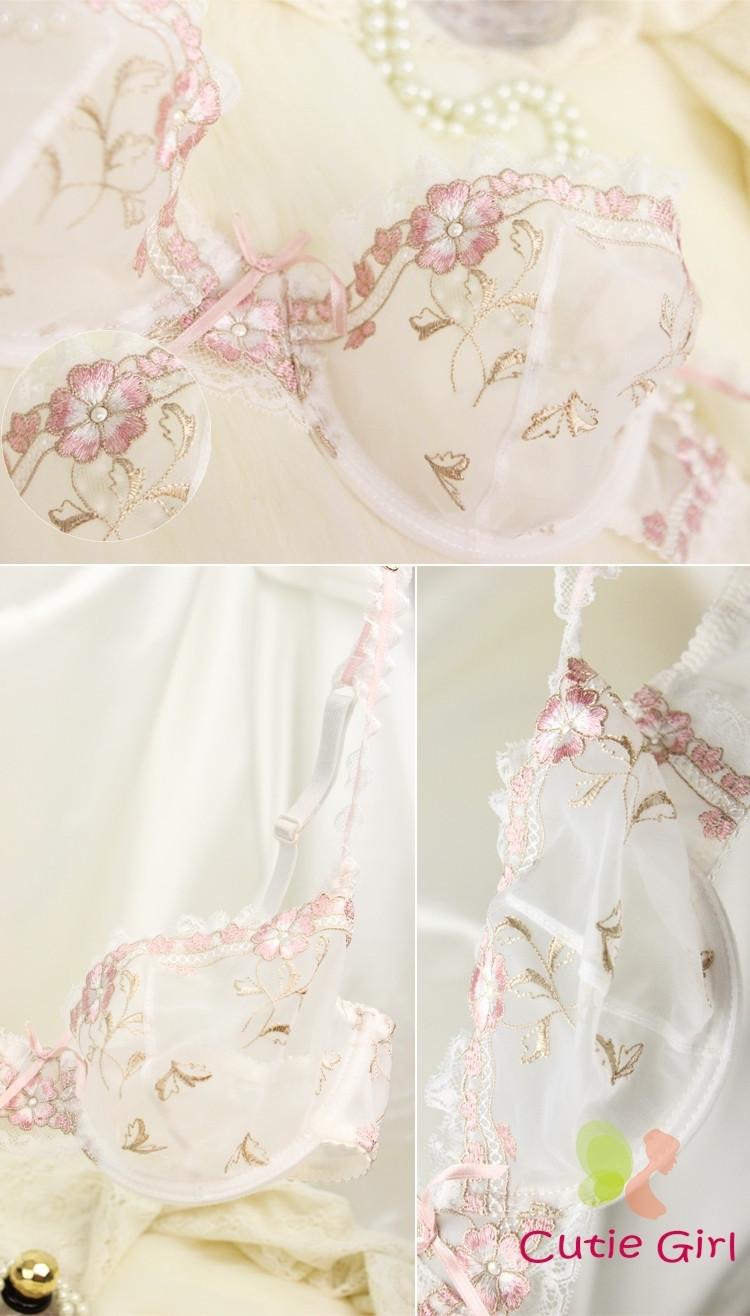 Bra & Brief Sets Free shipping Exquisite ultrathin hot sexy lace embroidery transparent underwear bra set women bra sets 2