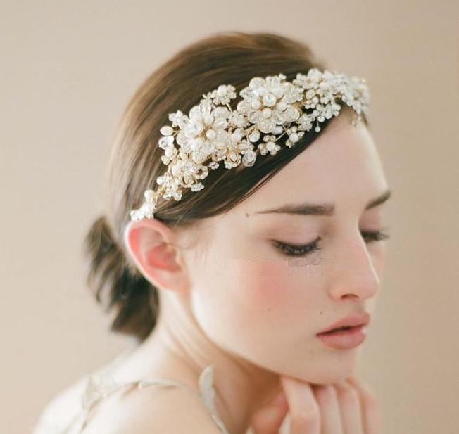 New Handmade Bride Golden Crystal Pearl Flower Hairband Brand Luxury Wedding Hair Accessories Bridal Tiara Headband WIGO0177