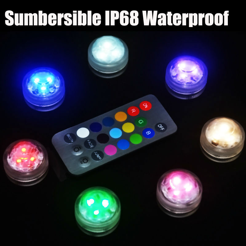 1 set waterproof submersible rgb led light with remote battery operated glass hookah shisha tobacco pipes bong accessories lamps 4