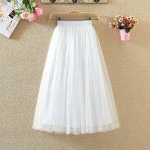 Image 4 - Womens Skirts 2020 New Summer Vintage Elastic High Waist Tulle Mesh Skirt Long Pleated Tutu Skirt Women Saias Midi Faldas Jupe