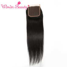 Wonder Beauty Remy Hair Brazilian straight Lace Closure 4×4 free Part 100% Human Hair Swiss lace Natural Color Free Shipping