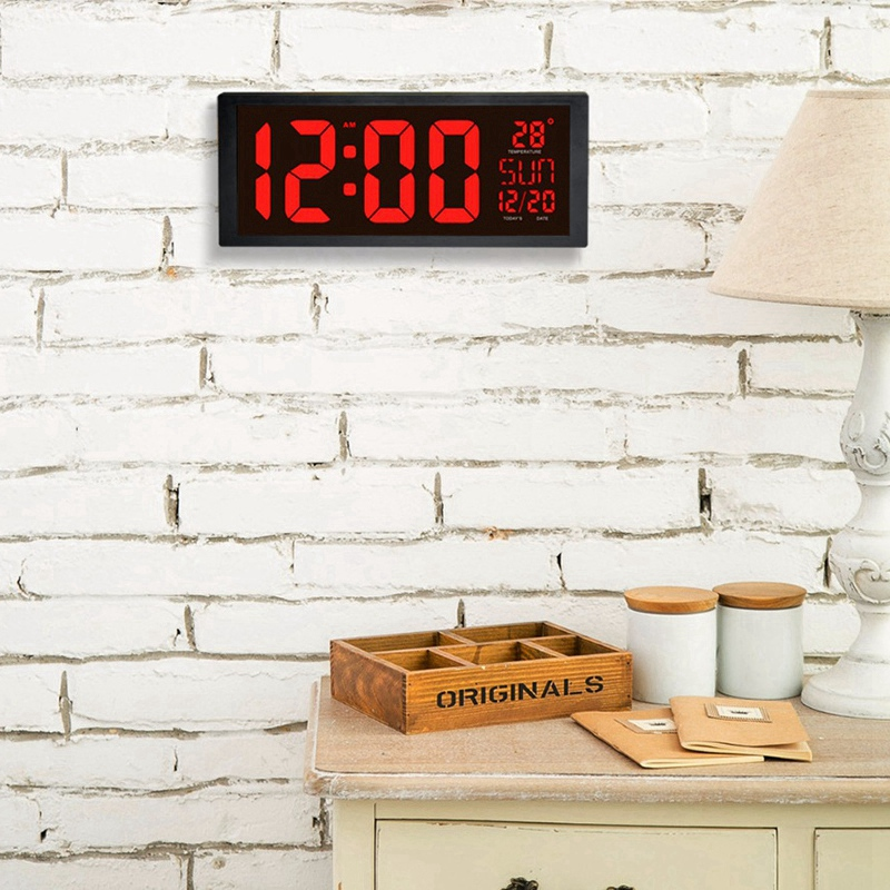 Large Screen Big Electronic Wall Clock Desktop Led Digital Calendar Clock Thermometer Daylight Saving For Kitchen Clock Mural in Wall Clocks from Home Garden