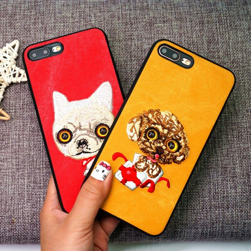 Langsidi denim cas de Téléphone Pour iPhone 8 Plus cas Mignon animal broderie retour couverture Pour 6 6 S 7 8 Plus X 5 5S SE téléphone cas