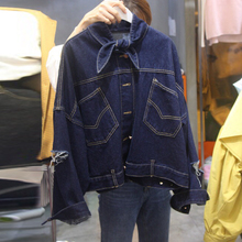Autumn And Winter Women Stand collar bowknot Denim Jacket 2017 Vintage Long Sleeve Loose Female Jeans Coat Casual Girls Outwear