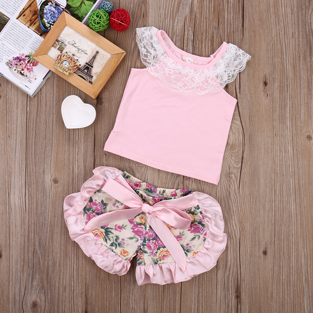 2017 2pcs Baby Set Summer Infant Baby Girl Clothes Set Lace +Floral Shorts Baby Girl Outfit ,Pink 0-24M