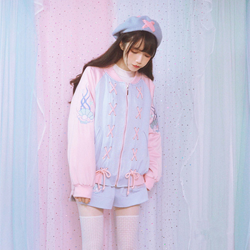 Autumn Winter New Lolita Girls Sweet Harajuku Baby Pink Merm