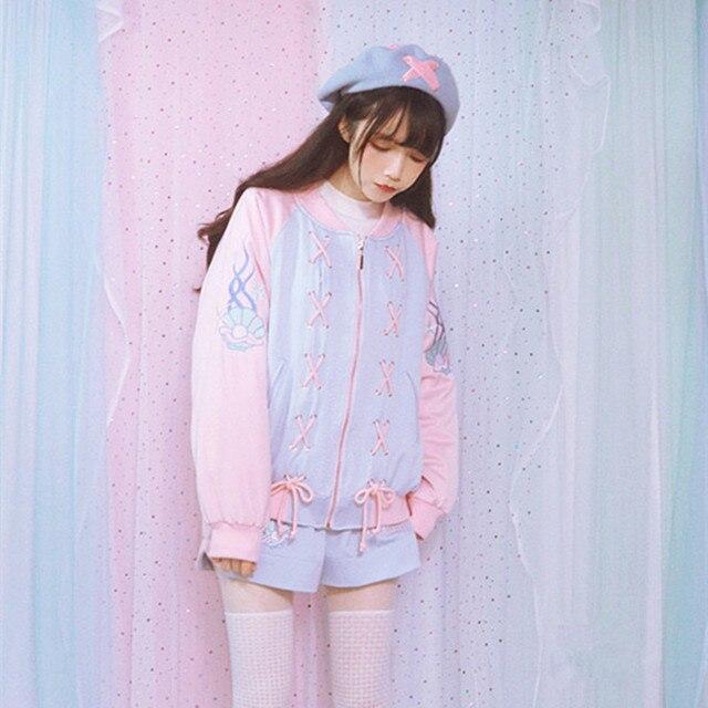 autumn winter new lolita girls sweet harajuku baby pink