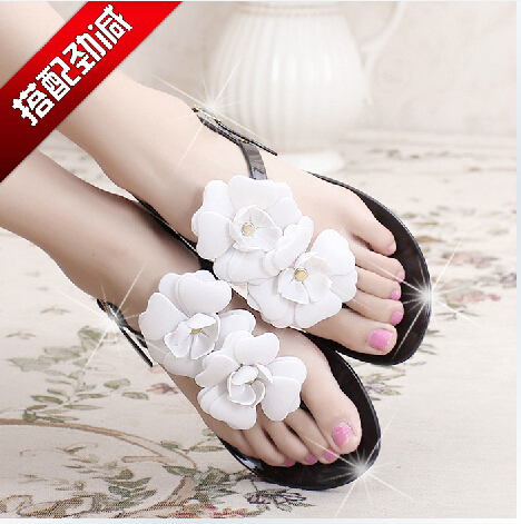 soft crystal flower women's sandals flat jelly melissa design beach slippers - Shenzhen Q Star Technology Co., Ltd. store
