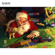 5D DIY Diamond Painting Christmas Santa Claus Home Decor Picture of Rhinestones Full Square Festive Gift