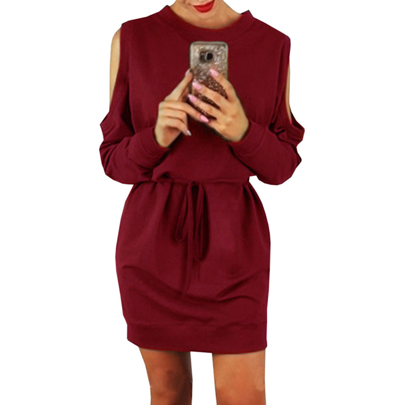 New Winter Off-the-shoulder Long-sleeved Sexy Long Sleeve Knitting Mini Bodycon Sexy Dress Women Vestidos Ladies Clothes