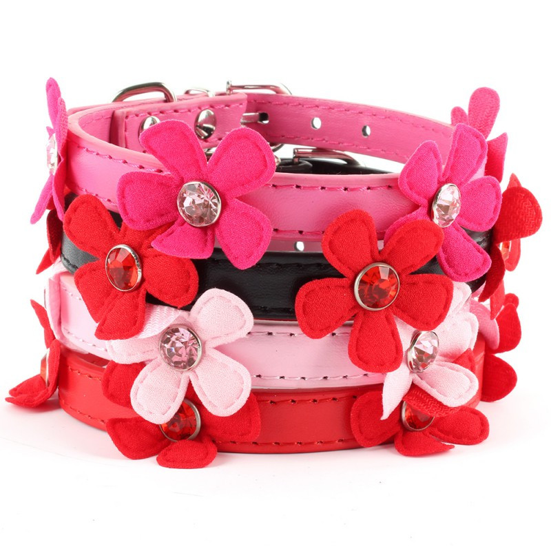 Adjustable Flower Neck Strap Pet Small Dog Cat PU Leather Collar Buckle XS S M L H1