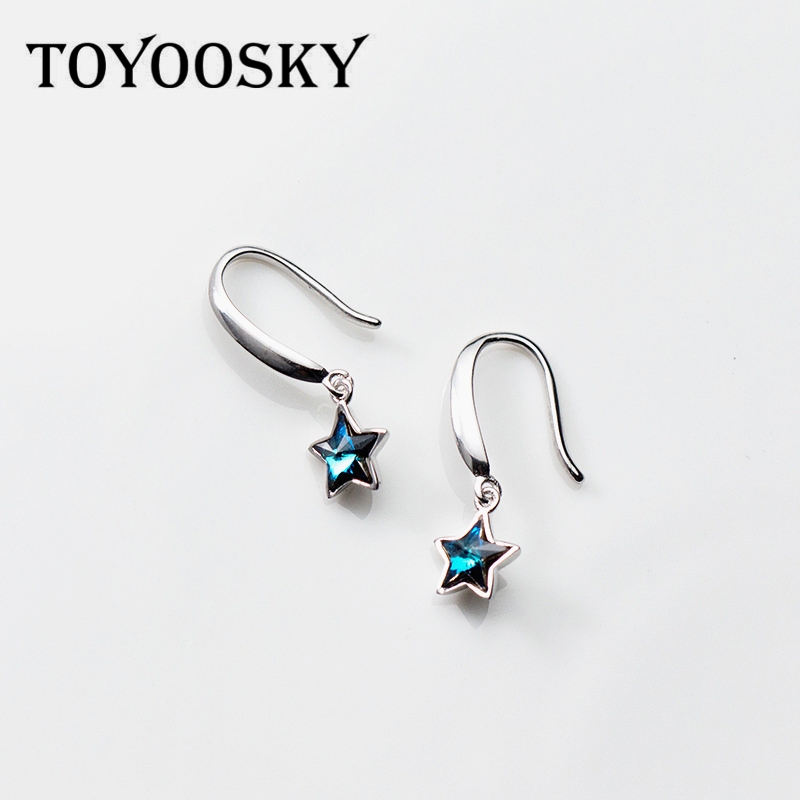 TOYOOSKY Real 925 Sterling Silver Blue Star Drop Earrings Fashion Women's Star Contracted Jewelry bar hollowed star drop earrings