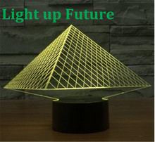 novelty 3D led Pyramid shape desk night with touch switch RGB changable night light N1270