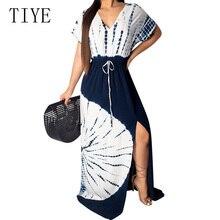 TIYE Summer Elegant Short Sleeve V Neck Loose Print Maxi Dress Women Bohomian Beach Casual Vintage Party Robe Longue Femme