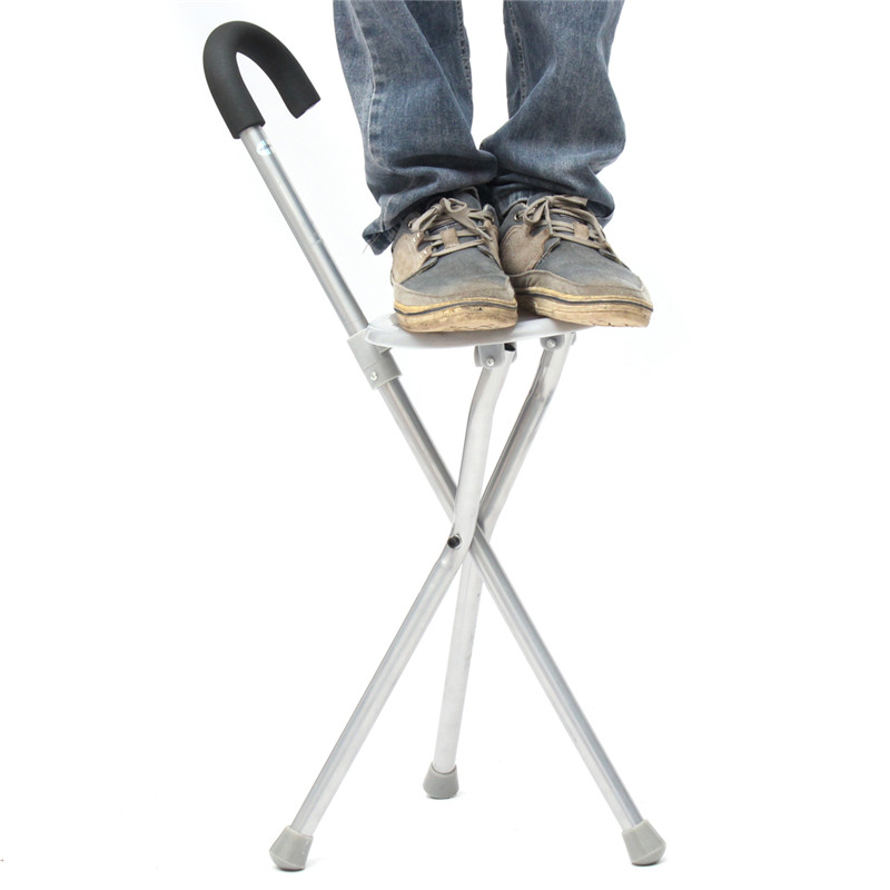Folding Aluminium Tripod Hiking Chair Portable Walking Stick With Plastic Seat Non Slip Feet High Quality Outdoor Tool
