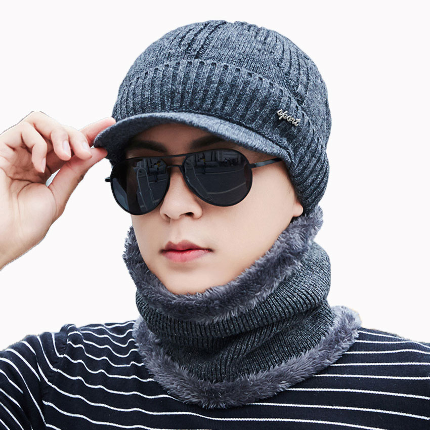 Men Winter Hat And Scarf Set For Women Scarves Cap With Brim Knitted Visor Skullies Beanies Male Balaclava Adult Warm 2 Pcs Suit