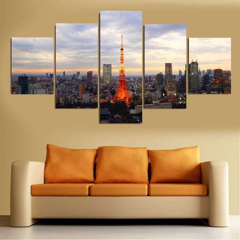 5 unidades Japón Tokyo Tower paisaje Impresión de lienzo pintura ...