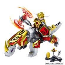 Kazi 4pcs/lot Knights armor With Horse Dragon Building Blocks Set Compatible Legoed weapon Figure academic toys for kids