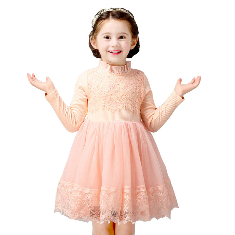 Autumn winter Girls Dress 2017 Casual Long Sleeves flower lace Mesh Kids Princess Dresses For Girl Autumn Clothing Cute Dress autumn lace lower hem casual dress with sleeves