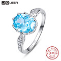 BONLAVIE Silver 925 Jewelry 4ct Blue Heart of Ocean Topaz Gem Stone Rings Fashion Accessories Wholesale China for Women