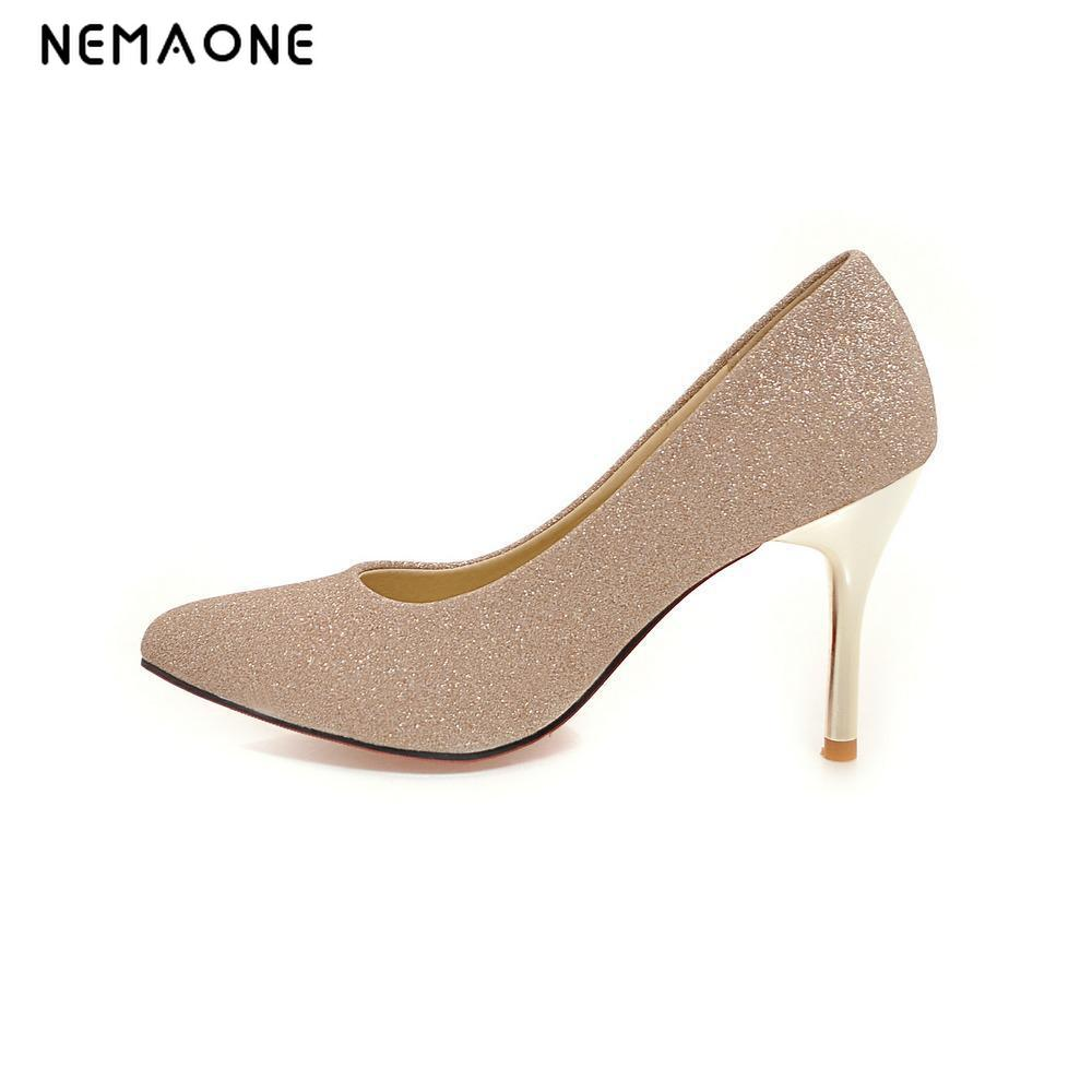NEMAONE 2017 New elegant women pumps poined toe high heels women shoes superstar dress shoes zapatos mujer large size 34-43 size 4 9 summer black women shoes elegant white flower high heels shoes cross women pumps zapatos mujer check foot length