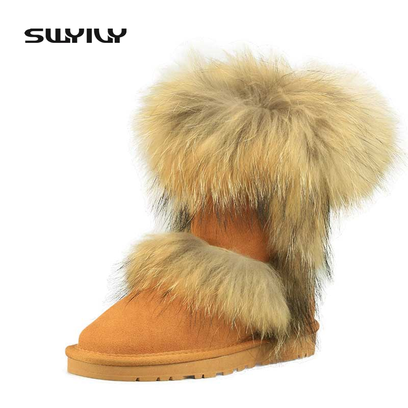 100 Nature Leather Fox Fur Winter Snow Boots Mid Calf Top Quality Warm Shoes Woman Botas