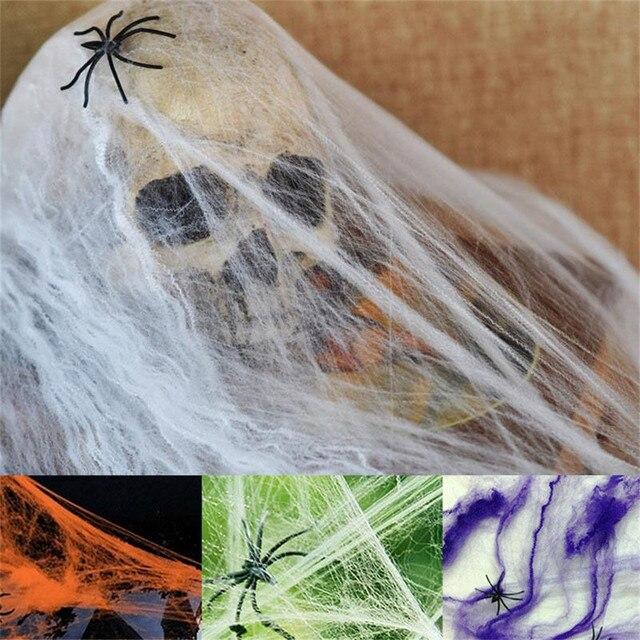 Хэллоуин вечерние страшные партии сцены реквизит белый эластичная паутина ужас Хэллоуин украшения для бара дом с привидениями @ 30