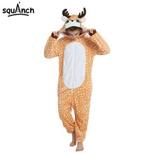 Sika Deer Kigurumi Onesie Women Adult Winter Sleepwear Lovely Cute Cartoon Animal Flannel Pajama Festival Carnival