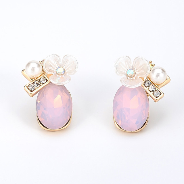 Ms Betti 2018 Cute Pink Flower Crystal Earrings Zirconia High Quality China Jewelry Supplier Women S