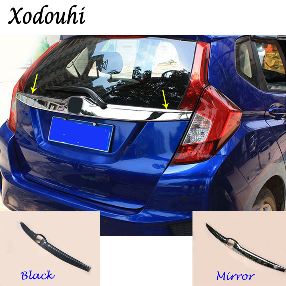 For Honda Fit jazz 2014 2015 2016 2017 car cover ABS Chrome Rear License Plate door bottom tailgate frame plate trim lamp 1pcs high quality for qashqai 2016 car body styling cover detector abs chrome rear door bottom tailgate frame plate trim lamp 1pcs