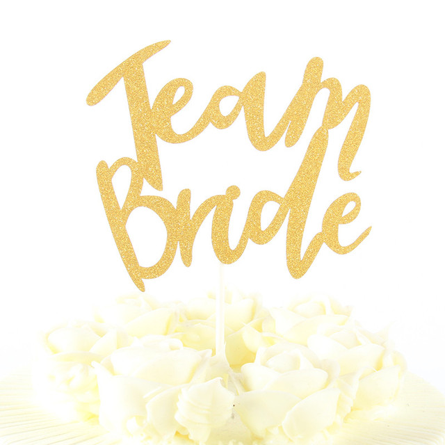 1 pcs gold cake topper cupcakes flag team bride bridal shower gold paper bachelorette hawaiian wedding