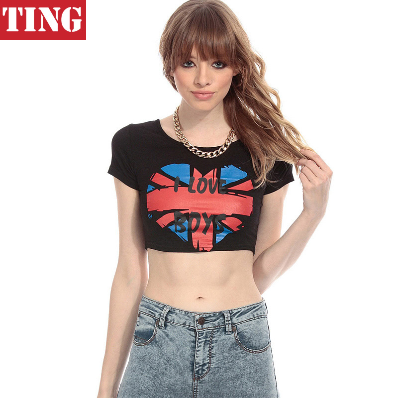 e5b2aec0df252 Heart Union Flag Letter print Women Crop Top T shirt Sport Street style  Slim Sexy Casual Women Top Cropped Summer Crop Tops A686-in T-Shirts from  Women s ...