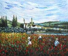 Poppy Field near Vetheuil by Claude Monet Handpainted