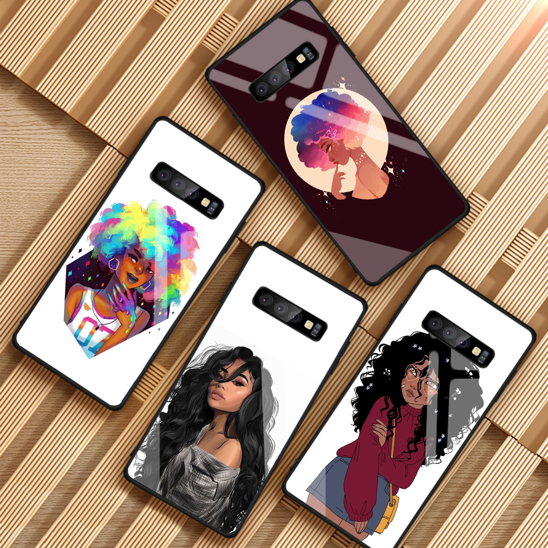Cute African Girl Tempered Glass Phone Case For Samsung Galaxy NOTE 8 9 S8 S9 S10 PLUS A6 A6S A8 A8S J6 J8 2018