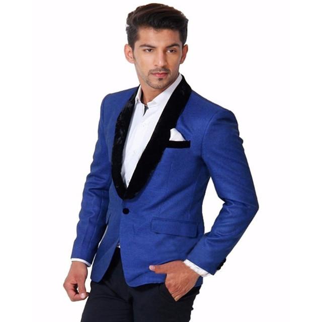 Nouveau Bleu Royal Veste Tuxedos Noir Châle Velours Revers Meilleur Homme Costume Formel Fête Bal Mariage Marié Costumes Veste Pantalon