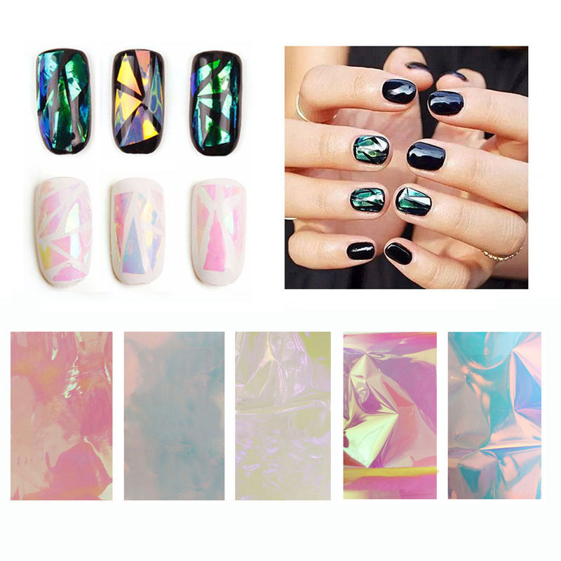 Hot 5pcs Broken Gl Mirror Foil Nail Art Paper Sticker Diy Beauty Decoration Tools