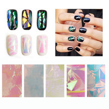Hot 5pcs Broken Glass Mirror Foil Nail Art Paper Sticker DIY Nail Beauty Decoration Tools