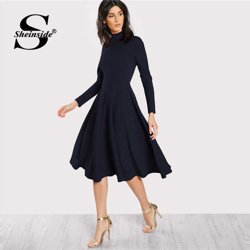 Sheinside Navy Mock Neck Fit And Flare