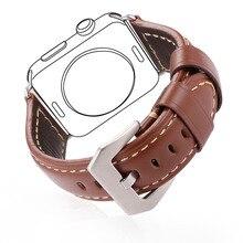 Haute Qualité Véritable Brun Bracelet En Cuir Pour Apple Watch Série 2 et 1 38 MM/42 MM Bracelet En Cuir Montre bande Pour Hommes Cadeau APB2220
