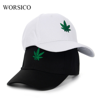 WORSICO Fashion Embroidered Leaves Baseball Cap Hats Black White Curved Snapback Hats Hip Hop Caps Dad Summer Autumn Gorras