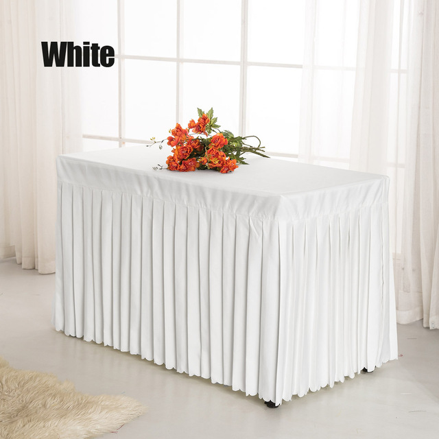 1pc Red Green White Black Pink Solid Polyester Table Skirt For Conference Ceremony Wedding Party Banquet Decoration Cover