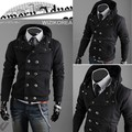 Best Selling Men Slim Trendy Fit Top Designed Double Breast Hoodies Sweatshirt Jacket Coat Outwear 4 Color 4 Size 34