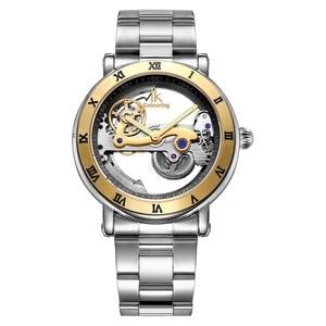 Image 2 - IK אוטומטי מכאני שעונים גברים מותג יוקרה עלה זהב מקרה אמיתי עור שלד שקוף חלול שעון 50m עמיד למים
